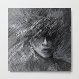 Anxiety in Black and White Metal Print