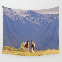 Paint Horses and Western Landscape Photograph Wall Tapestry