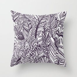 Purple white hand painted tribal bohemian feathers pattern Throw Pillow