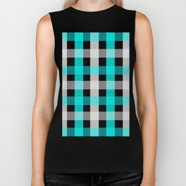 blue black checks Biker Tank