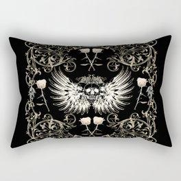 Skull Wings & White Roses Rectangular Pillow