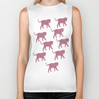 tigers Biker Tanks featuring Pink Tigers by ANIMALS + BLACK