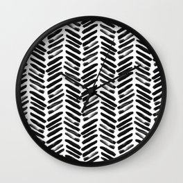Simple black and white handrawn chevron - horizontal Wall Clock