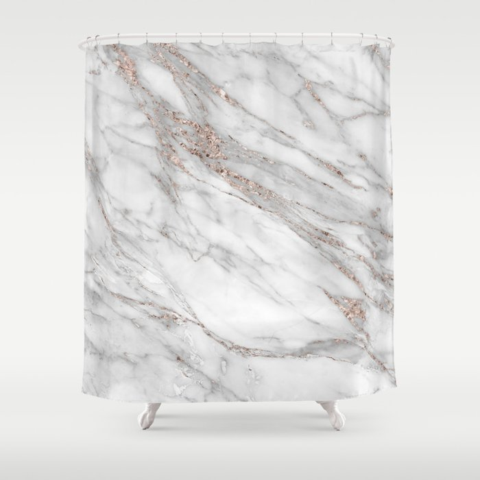 Elegant Pink Rose Gold Blush Metallic Glitter Foil On Gray Marble Shower Curtain