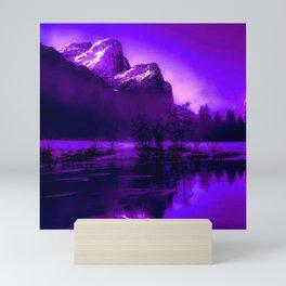 Scenic Snowy Mountains and nature around a lake Mini Art Print