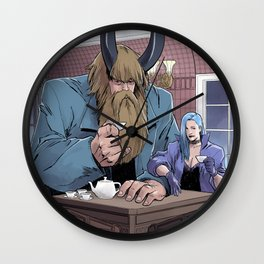 Demon And His Little Ghoul Have Tea Wall Clock