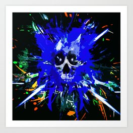 Splatter Skull (blue) Art Print