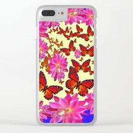 Blue & Yellow Butterflies  Pink Flowers Pattern Art Clear iPhone Case