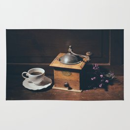 Vintage still life with coffee grinder Rug