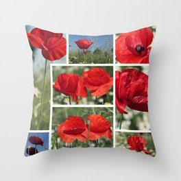 Poppies Collage Throw Pillow