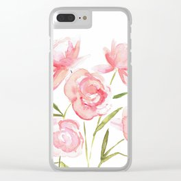 Wild Pink Roses Clear iPhone Case