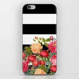 Black and White Stripe with Floral iPhone Skin