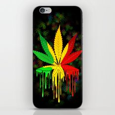 Marijuana Leaf Rasta Colors Dripping Paint iPhone & iPod Skin
