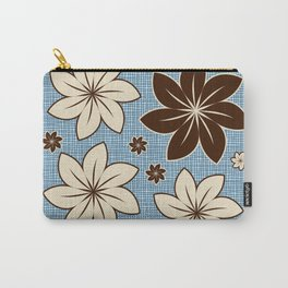 Floral design on blue Carry-All Pouch