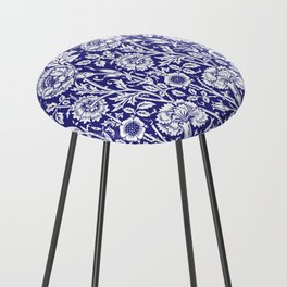 "William Morris Floral Pattern | ""Pink and Rose"" in Navy Blue and White Counter Stool"