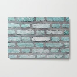 Aqua and Gray Brick Wall Metal Print