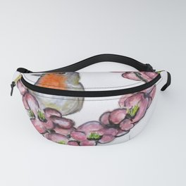 Robin And Peach Blossoms Fanny Pack