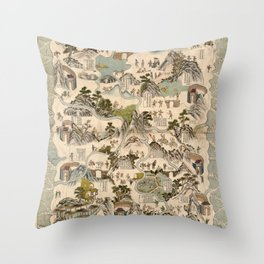 Qiong Jun di yu quan tu (Hainan Sheng Map, China 1836) Throw Pillow