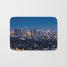 Los Angeles, California, I love LA Downtown Skyline, Golden lights, USA Sunset Blvd, Palms, Cali Map Bath Mat