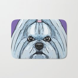 Maltese Art Poster Dog Icon Series by Artist A.Ramos. Designed in Bold Colors Perfect for Pet Lovers Bath Mat