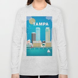 Tampa, Florida - Skyline Illustration by Loose Petals Long Sleeve T-shirt