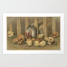 Vintage Chicken & Baby Chicks Painting (1891) Art Print