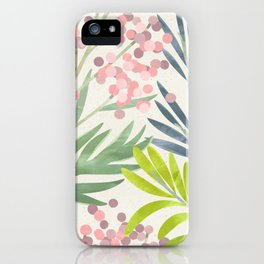 Seamless Pattern Lime Green Ferns Pink Pastel Blossoms iPhone Case