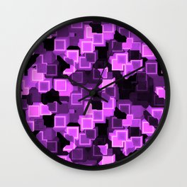 Lilac Cyber Glow Neon Squares Pattern Wall Clock