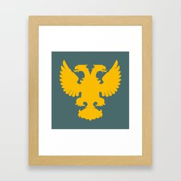 yellow double-headed eagle on a gray-blue background Framed Art Print