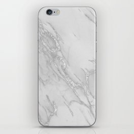Marble Love Silver Metallic iPhone Skin