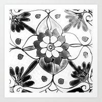Black and White Talavera Four Art Print