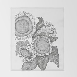 Sunflowers Black and White Ink Drawing Throw Blanket