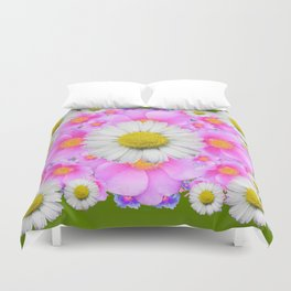 Avocado Color Shasta Daisies Rose Pattern Garden Duvet Cover