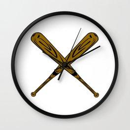 Wooden Baseball Bats Crossed making an X Wall Clock