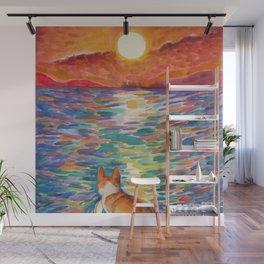 Corgi - sunset surfer Wall Mural