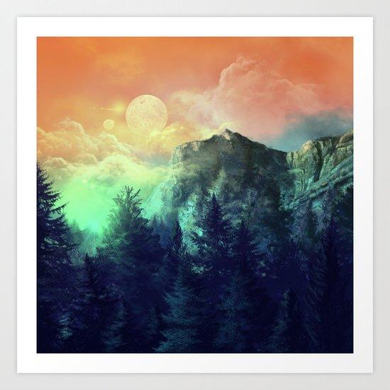 sunset forest 1 Art Print