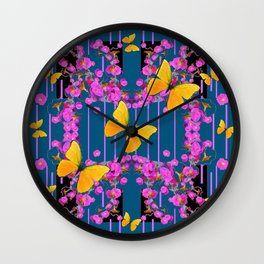 Modern Yellow Butterflies Art  Pink FlowersTeal Garden Wall Clock