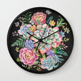 Watercolor Succulent #39 Wall Clock