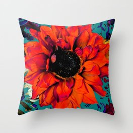 Orange Sunflower & Teal Contemporary Abstract Throw Pillow