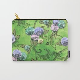 Hydrangeas on Green Carry-All Pouch