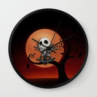 jack skellington Wall Clocks featuring Jack Skellington Nightmare by neutrone