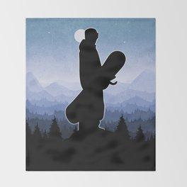 Snowboard Skyline Stand Throw Blanket