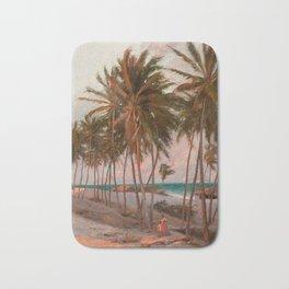 Vintage Palm Tree and Beach Art Bath Mat