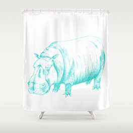 Hippo Turqoise Shower Curtain