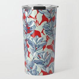 Leaf and Berry Sketch Pattern in Red and Blue Travel Mug