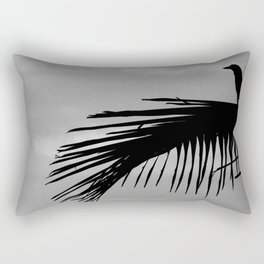 Bird silhouette with palm tree leaf in the Caribbean Rectangular Pillow