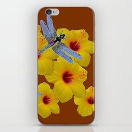 COFFEE BROWN BLUE DRAGONFLIES YELLOW HIBISCUS iPhone Skin