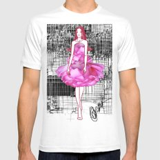 My rose dress fashion illustration concept. White MEDIUM Mens Fitted Tee