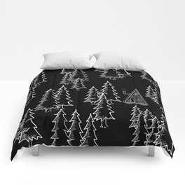 Lost in the wood, a lonely cabin (revers) Comforters