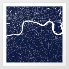 Navy on White London Street Map Art Print